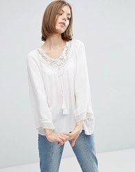 Vila White Blouse With Crochet Neck And Tassels Snow White