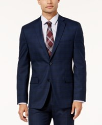 Alfani Men's Traveler Slim Fit Navy Checkered Suit Jacket Created For Macy's Blue