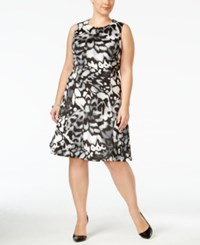 Calvin Klein Plus Size Printed Fit And Flare Dress Grey Combo