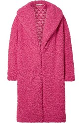 Alice Olivia Ora Oversized Faux Shearling Coat Bright Pink