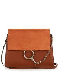 Chloe Faye Medium Suede And Leather Shoulder Bag Tan
