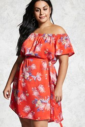 Forever 21 Plus Size Belted Floral Dress Red Pink