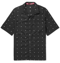 Mcq By Alexander Mcqueen Billy Camp Collar Cotton Jacquard Shirt Black