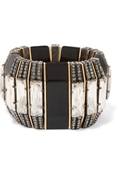 Lanvin Crystal Gold And Gunmetal Tone Bracelet Metallic