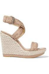Stuart Weitzman Elixir Braided Leather Espadrille Wedge Sandals