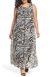 Evans Plus Size Women's Animal Print Split Maxi Dress Dark Multi