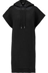 Dkny Oversized Mesh Trimmed Knitted Jersey Hooded Mini Dress Black