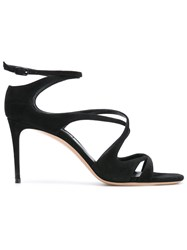 Casadei Strappy Sandals Women Chamois Leather Leather Nappa Leather 38 Black