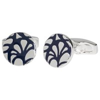 Simon Carter For John Lewis Silver Plated Round Embossed Cufflinks Navy