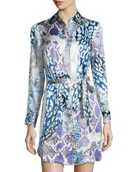 Paperwhite Snake Print Self Tie Shirtdress 14