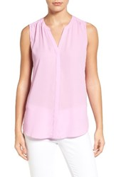 Nydj Women's Print Pleat Back Sleeveless Split Neck Blouse Pale Orchid