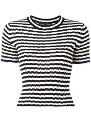 Proenza Schouler Striped Fitted T Shirt Black