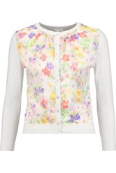 Oscar De La Renta Printed Silk Satin And Wool Silk And Cashmere Blend Cardigan Ivory