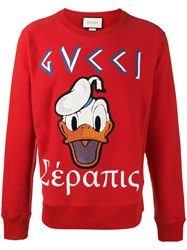 Gucci Donald Duck Applique Sweatshirt Men Cotton L Red