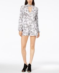 Guess Choker Neck Romper Frosted Floral White