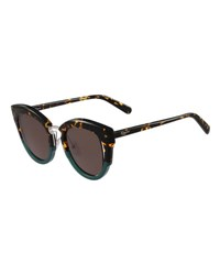 Salvatore Ferragamo Cutout Monochromatic Cat Eye Sunglasses Black