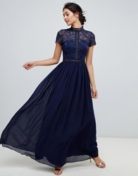 Chi Chi London 2 In 1 Lace Top Maxi Dress In Navy