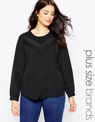 Junarose Long Sleeve Top With Embroirdered Detail Black