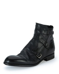 Alexander Mcqueen Monk Strap Leather Boot Black