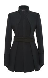 Brandon Maxwell Suiting Cady Pleated Coat Black
