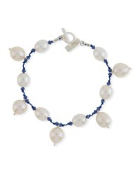 Margo Morrison Multi Pearl Dangle Bracelet White