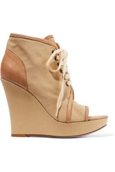 Red Valentino Redvalentino Leather Trimmed Canvas Wedge Sandals Neutral