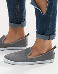New Look Slip On Plimsolls In Grey Grey