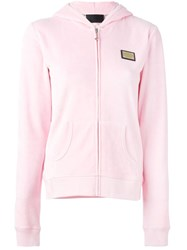 Philipp Plein Rhinestone Princess Zip Hoodie Pink And Purple