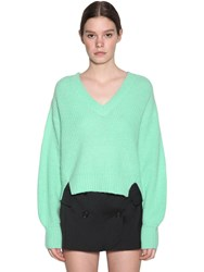 Baum Und Pferdgarten Charlize V Neck Wool Blend Knit Sweater Green