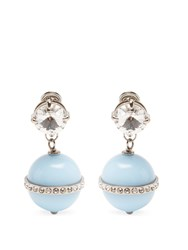 Miu Miu Bead And Crystal Embellished Drop Earrings Light Blue
