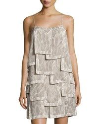 Halston Sleeveless Printed Patch Dress Gray Pattern
