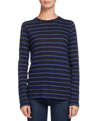 Proenza Schouler Striped Long Sleeve Tissue Tee Black Blue