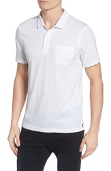 Men's 1901 Trim Fit Heathered Jersey Pocket Polo White