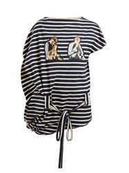Jw Anderson X Gilbert And George Print Striped Cotton Top Blue White