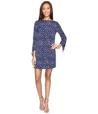 Tahari By Arthur S. Levine Jersey Dot Print Tie Sleeve Shift Dress Navy White Women's Dress Blue