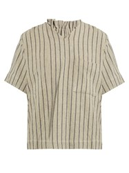 Craig Green Striped V Neck Top Beige Multi