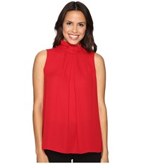 Ellen Tracy High Neck Shell Rouge Women's Clothing Red