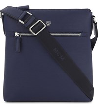 Mcm Otto Small Leather Messenger Bag Pistol Blue