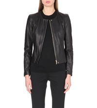 Hugo Boss Collarless Fitted Leather Jacket Black