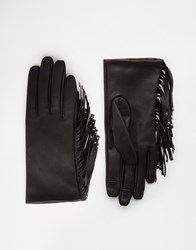 Asos Leather Gloves With Fringe And Touch Screen Black