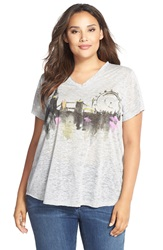 Vince Camuto London Graphic Burnout V Neck Tee Plus Size Grey Heather