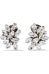 Ben Amun Silver Plated Swarovski Crystal Clip Earrings Silver