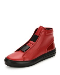 Salvatore Ferragamo Ground Buckle Front Calfskin High Top Sneaker Red