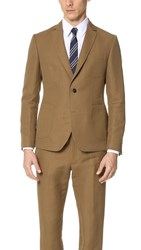 Brooklyn Tailors Cotton And Linen Herringbone Unstructured Jacket Rye