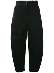 Christophe Lemaire Belted Curved Leg Trousers Black