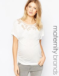 Mama Licious Mamalicious Tani Maternity Top With Cutwork Neckline Wh1 White 1