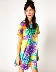 House Of Holland Tee Dress In Pompom Floral Multi