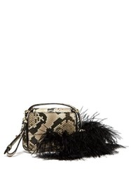 Marques'almeida Feather Trim Snake Effect Leather Shoulder Bag Multi
