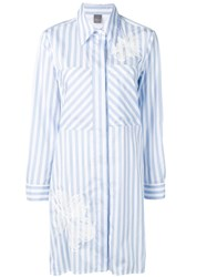 Lorena Antoniazzi Striped Flared Shirt Dress Blue