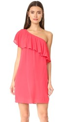 Wayf Conway One Shoulder Ruffle Dress Coral